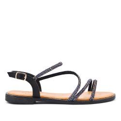 Sandalia plana negra con diamantes de imitación