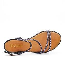 Black flat sandal with rhinestones