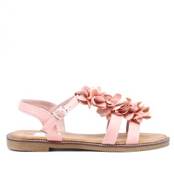 Pink flat sandal in faux leather with flower