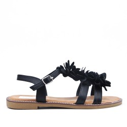 Black flat sandal in faux leather with flower