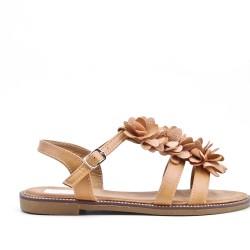 Sandale plate camel en simili cuir à fleur