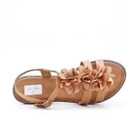 Camel flat sandal in faux leather with flower
