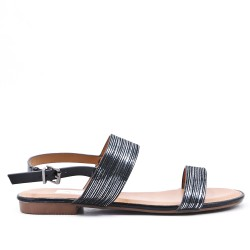Black flat sandal in faux leather
