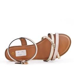 Sandale dorée en simili cuir à bride tressé