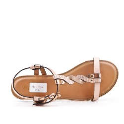 Sandale plate champagne en simili cuir