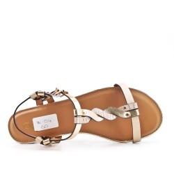 Sandale plate dorée en simili cuir