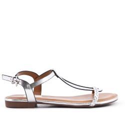 Sandalia de piel sintética plata con brida trenzada