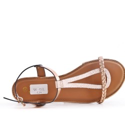 Champagne imitation leather sandal with braided bridle