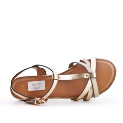 Golden flat sandal in faux leather