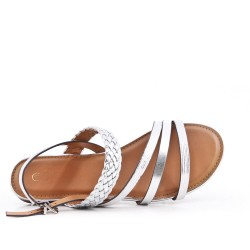 Silver imitation leather sandal with braided bridle