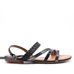 Black imitation leather sandal with braided bridle