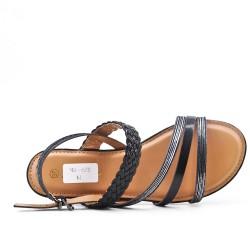Sandale noire en simili cuir à bride tressé