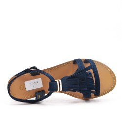 Blue faux suede sandal with bangs