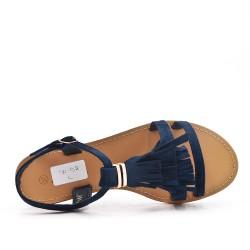 Sandalia de gamuza sintética azul con flequillo