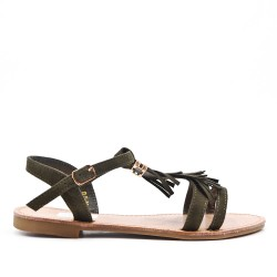 Green faux suede sandal with bangs