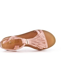 Pink faux suede sandal with bangs