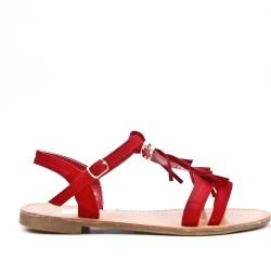 Sandale rouge en simili daim à frange