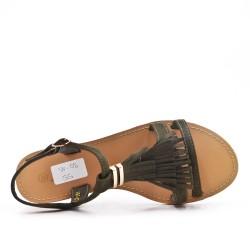 Sandale verte en simili daim à frange