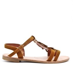 Camel faux suede sandal with bangs