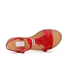 Red faux suede sandal with bangs