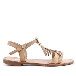 Beige faux suede sandal with bangs
