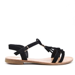 Sandalia de gamuza sintética negra con flequillo