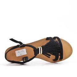 Sandale noire en simili daim à frange