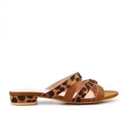 Leopard printed camel slipper
