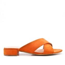 Orange flap in faux suede