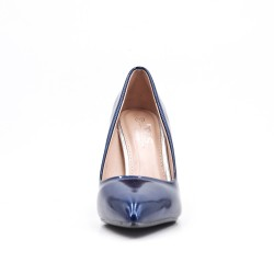 Blue patent leather heels