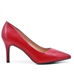 Red leatherette pump with heels
