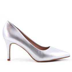 Silver patent leather heels