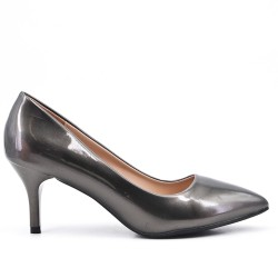 Gray patent leather heels