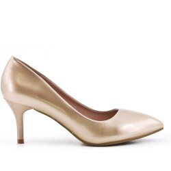 Golden patent leather heels