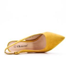 Zapatos de tacón de ante amarillo con tacón