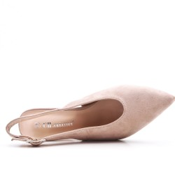 Beige suede leather pumps with heels