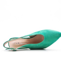 Green suede leather pumps with heels