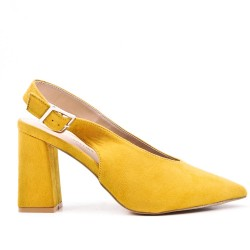 Yellow suede leather pumps with heels