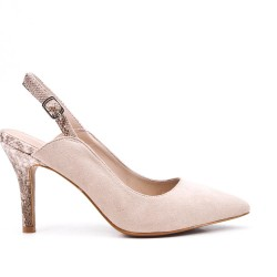Beige suede faux leather pumps with printed heels