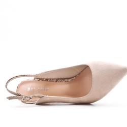 Zapatillas de piel sintética de ante beige con tacones estampados