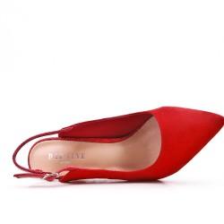 Zapatillas de piel sintética de ante rojo con tacones estampados