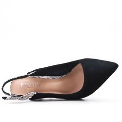Zapatillas de piel sintética de ante negro con tacones estampados