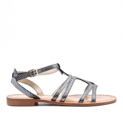 Sandale plate noire en simili cuir