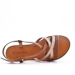 Camel imitation leather sandal with braided bridle