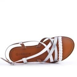 White imitation leather sandal with braided bridle