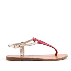 Red imitation leather sandal