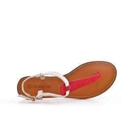 Sandalia de piel imitación rojo