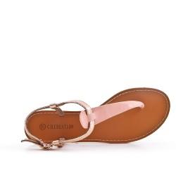 Sandalia de piel imitación rosa