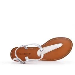 Sandalia de piel imitación plata