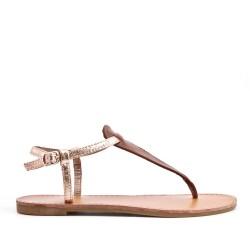 Champagne imitation leather sandal